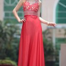 Party Dresses For Women Hot Sale Floor Length v-Neck Beaded Red