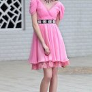 Pink V-neck short Short Party Dresses evening dresses