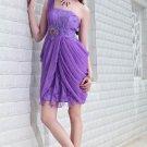 Sexy purple shoulder evening dresses Short Party Dresses