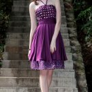Purple Halter halter night dresses short paragraph Short Party Dresses