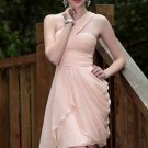 Sexy shoulder evening dresses of pale pink Short Party Dresses