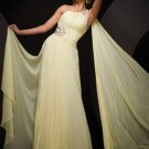 A-Line One-Shoulder Floor-Length Chiffon Charmeuse Homecoming Dresses