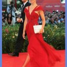 Gorgeous Column V-neck off the Shoulder  Celebrity Dresses