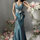 V-neck Floor-Length Taffeta Bridesmaid Dresses