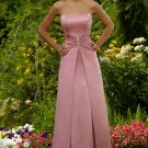 A-Line/Princess Strapless Floor-Length Satin Bridesmaid Dresses