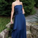 Satin Strapless Neckline Wide Rouched Waistband with Beaded Flower