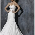 Dipped neckline skirt handmade flowers decorated A-line wedding dresses