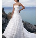 Strapless Neckline Beach Ruffles Organza Wedding Dresses