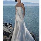 One Shoulder Train Chiffon Beach Wedding Dresses