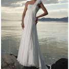 Sheath One Shoulder Scoop Neckline Beach Wedding Dresses