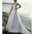 Straples Sweep Train Satin & organza Beach Wedding Dresses