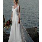 A-line Beach Wedding Dresses V-neck Train Chiffon