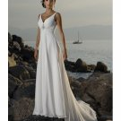 Empire Waist V-neck Train Chiffon Beach Wedding Dresses