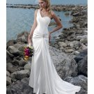 One Shoulder Hand Flower Sweep Train Beach Wedding Dresses