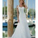 A-line One Shoulder Train Beach Chiffon Wedding Dresses