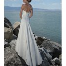 A-line Spaghetti Straps Chapel Train Beach Wedding Dresses