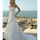 A-line Strapless with Pleats Beach Wedding Dresses