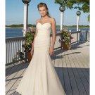 Mermaid Beach Wedding Dresses Strapless with Pleats Train
