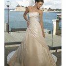 A-line Strapless Straight Neckline Beach Wedding Dresses