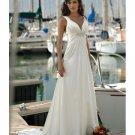 A-line Gown V-neck Train Chiffon Beach Wedding Dresses