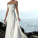 Empire One-Shoulder Chapel Train Chiffon Beach Wedding Dresseses