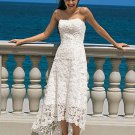 Elegant A-Line/Princess Strapless Asymmetrical Satin Lace Wedding Dress