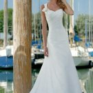 Fascinating A-Line/Princess One-Shoulder Chapel Train Chiffon Satin Wedding Dress