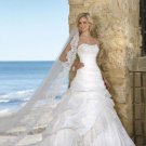 A-Line/Princess Sweetheart Chapel Train Taffeta Lace Wedding Dresses