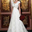 A-Line Square Neckline Chapel Train Satin Lace Bridal Dresses