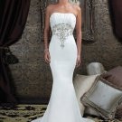 A-Line V-neck Chapel Train Satin Lace Bridal Dresses