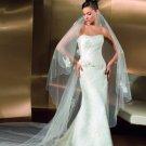 A-Line Strapless Chapel Train Bridal Dresses