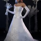 A-Line V-neck Chapel Train Satin Tulle Bridal Dresses