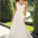 Ball-Gown Strapless Cathedral Train Organza Satin Bridal Dresses