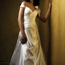 A-Line V-neck Chapel Train Chiffon Charmeuse Bridal Dresses