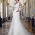 Empire V-neck Chapel Train Satin Lace Bridal Dresses