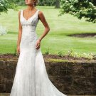 A-Line Sweetheart Chapel Train Organza Satin Lace Bridal Dresses