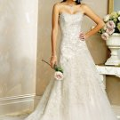 A-Line Strapless Chapel Train Satin Tulle Bridal Dresses