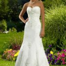 Strapless Chapel Train Satin Tulle Bridal Dresses