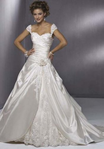 A-Line Sweetheart Chapel Train Satin Tulle Bridal Dresses
