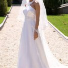 Empire Halter Chapel Train Satin Bridal Dresses