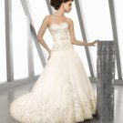 casual bright a-line strapless wedding dresses