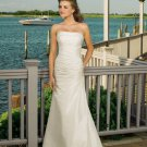 taffeta with beans ornamenting strapless wedding dresses
