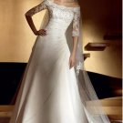 amazing a-line/princess off-the-shoulder chapel train chiffon satin strapless wedding dresses