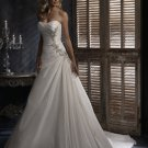 attractive a-line/princess sweetheart chapel train taffeta lace strapless wedding dresses