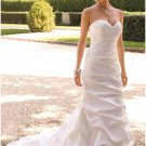 fascinating sheath/column sweetheart chapel train satin strapless wedding dresses