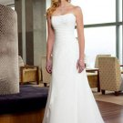 fascinating a-line/princess court train chiffon satin strapless wedding dresses