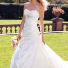 fascinating a-line/princess one-shoulder chapel train chiffon satin strapless wedding dresses