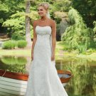 empire sweetheart chapel train satin tulle strapless wedding dresses