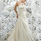 a-line/princess halter chapel train taffeta strapless wedding dresses