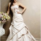 a-line/princess chapel train satin strapless wedding dresses sashes